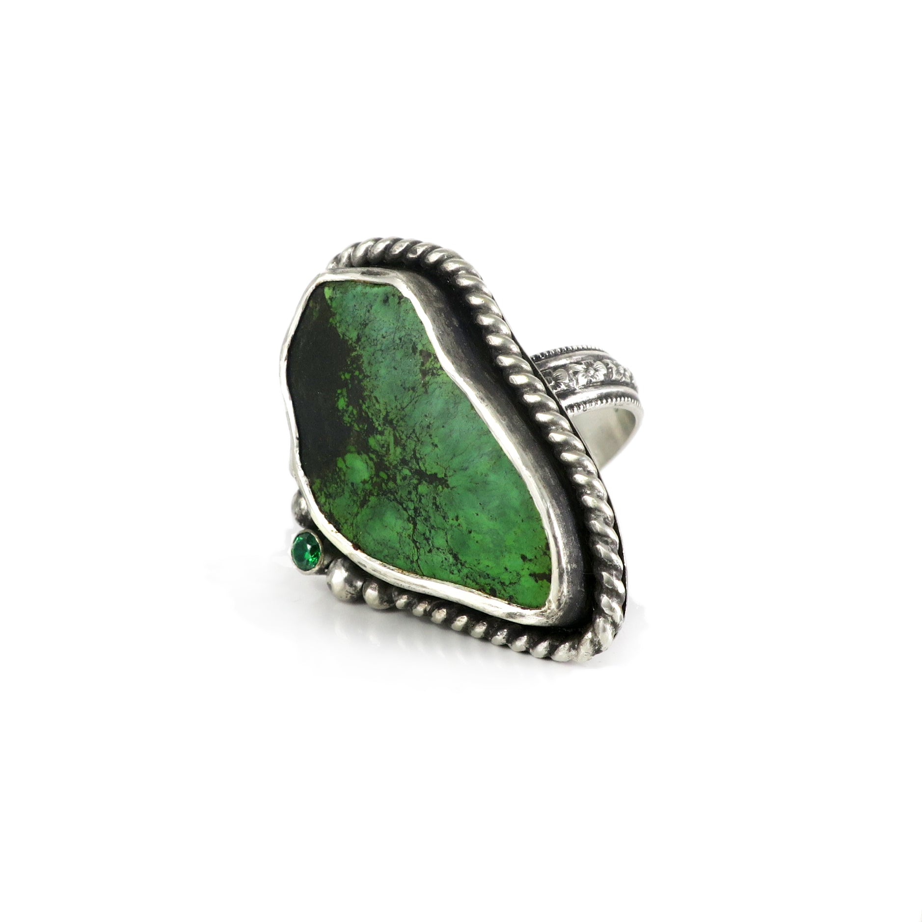 unEarthed ring with green turquoise and green gem