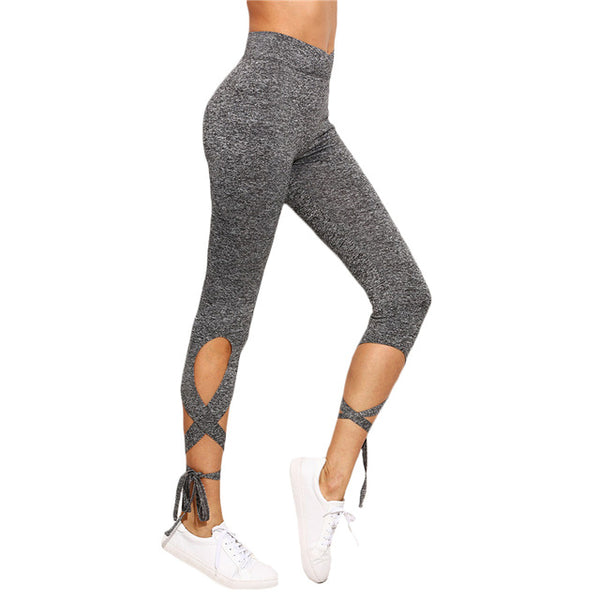 Women's Light Grey High Waist Crisscross Tie Elastic Sportswear, Gym, Yoga Fitness Leggings