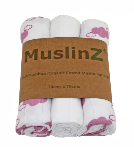 MuslinZ 3 Pack Bamboo/Organic Cotton Mulin Squares 70x70cm - Cloud Print - Pink Cloud - The Monkey Box
