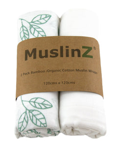 MuslinZ 2 Pack Bamboo/Organic Cotton Muslin Wraps 120x120cm - White Leaf/Print - White/Aqua Leaf - The Monkey Box