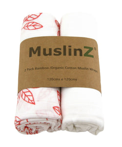 MuslinZ 2 Pack Bamboo/Organic Cotton Muslin Wraps 120x120cm - White/Leaf Print - White Coral/Leaf - The Monkey Box