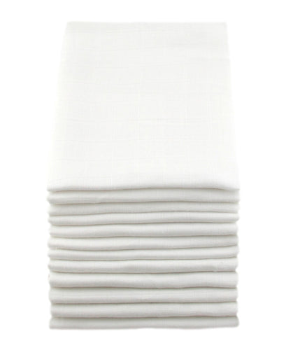 MuslinZ 12 Pack 100% Organic Cotton Muslin Squares 70x70cm - White - The Monkey Box