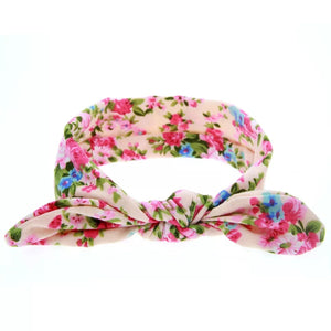 Floral Stretch Cotton Bow Headbands (4 Colours)