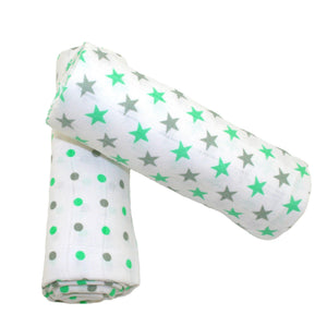 MuslinZ 2 Pack Muslin Swaddles 100x90cm - Mint Star/Spot - The Monkey Box