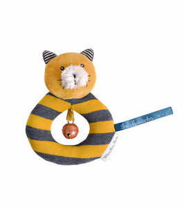Moulin Roty Yellow ring rattle Lulu the cat Les Moustaches - The Monkey Box