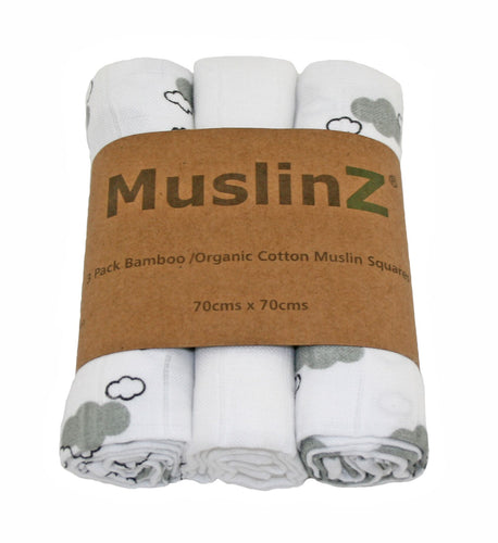 MuslinZ 3 Pack Bamboo/Organic Cotton Muslin Squares 70x70cm - Cloud Print - Grey Cloud - The Monkey Box
