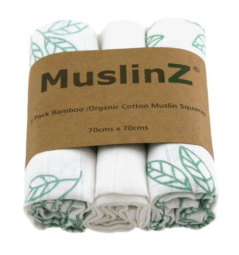 MuslinZ 3 Pack Bamboo/Organic Cotton MusliN Squares 70x70cm - Leaf Print- White/Aqua Leaf - The Monkey Box