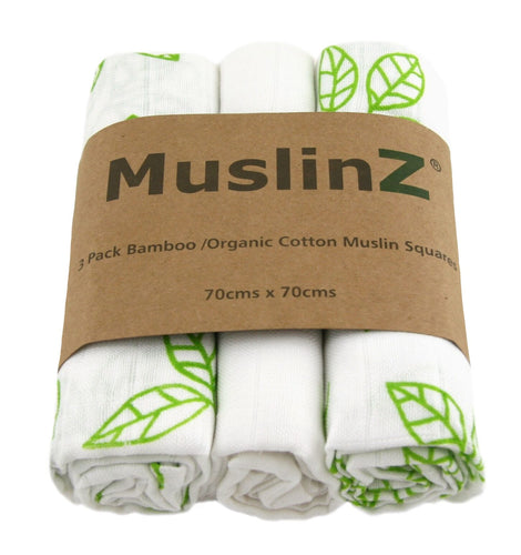 Muslinz 3 Pack Bamboo/Organic Cotton Muslin Squares 70x70cm - Leaf Print - White/Green Leaf - The Monkey Box