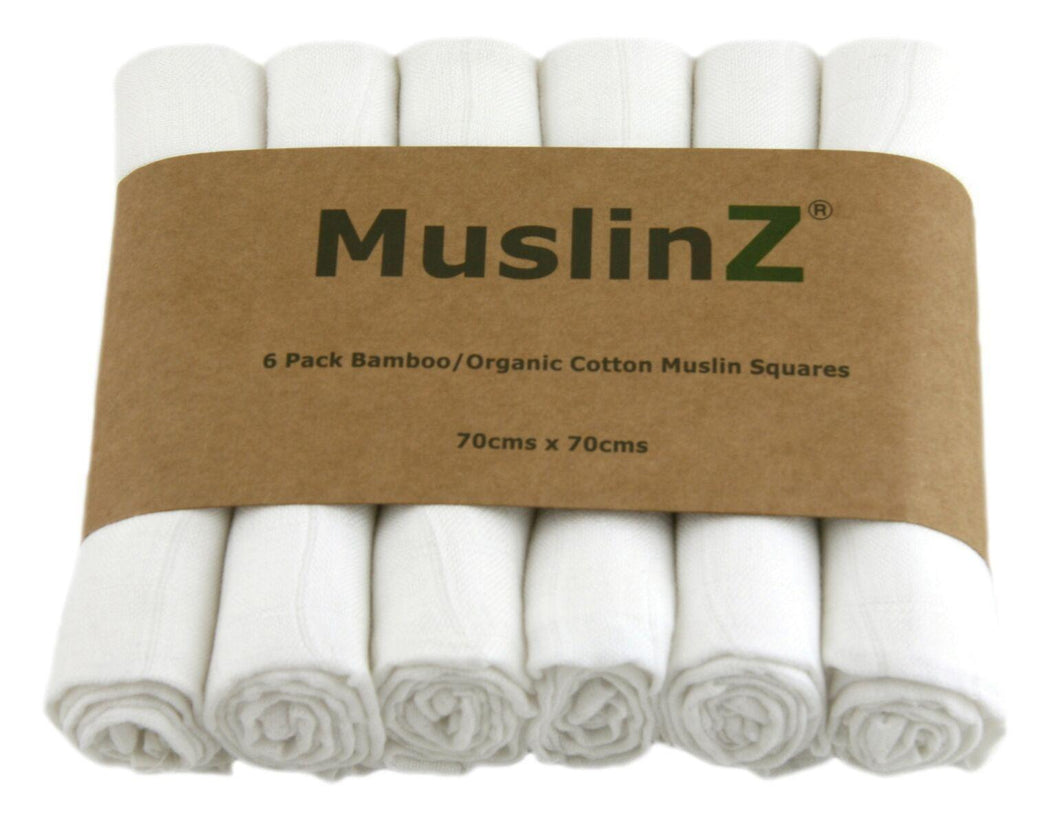 MuslinZ 6 Pack Bamboo/Organic Cotton White Muslin Squares 70x70cm - White - The Monkey Box