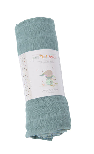 Moulin Roty Blue Muslin Cloth 70x70 cm - The Monkey Box