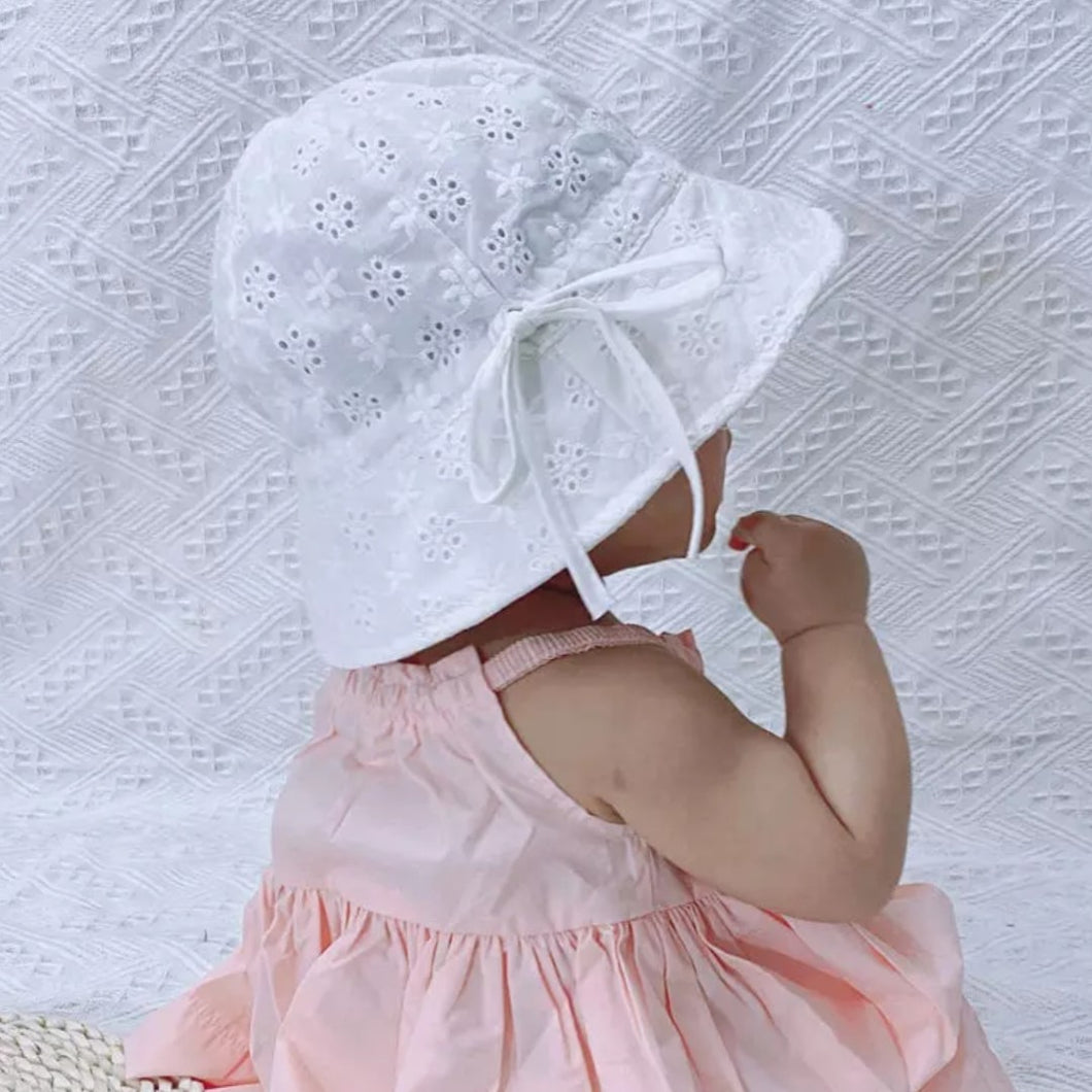 White Baby Sun Hat with chin tie - The Monkey Box