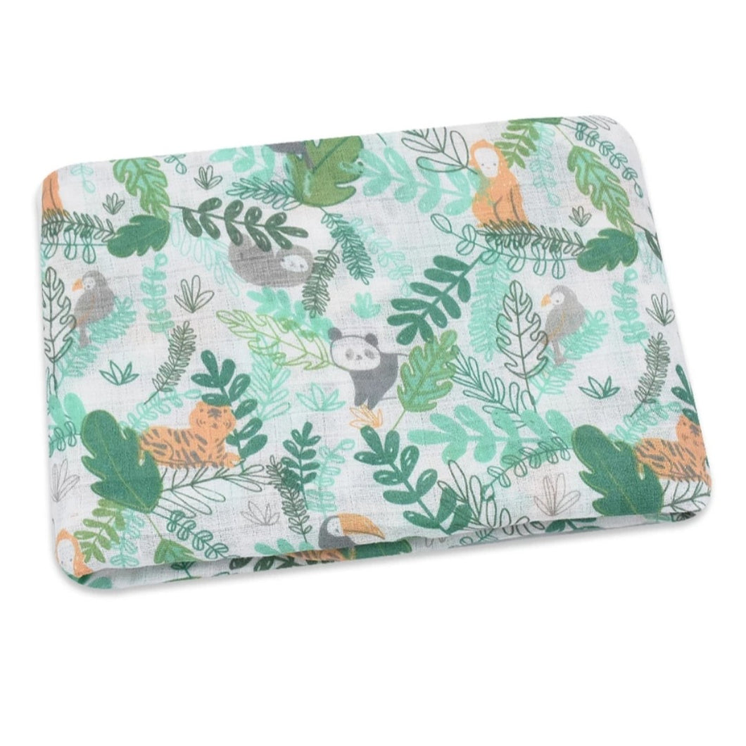 Rainforest Muslin Swaddle and Muslin Cloth - The Monkey Box