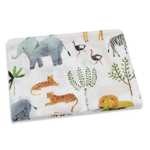 Jungle Animals Swaddle and Muslin Cloth - The Monkey Box