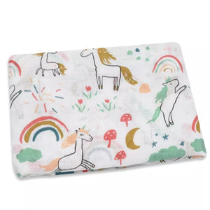 Unicorn and Rainbows Muslin cloth and swaddle - The Monkey Box