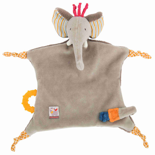Moulin Roty Elephant Comforter with soother holder, Les Papoum - The Monkey Box