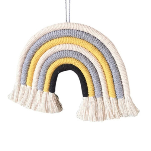 Grey and Yellow 7 Arch Macrame Rainbow Nursery/Bedroom Decoration