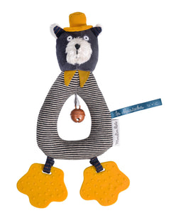 Moulin Roty Grey Ring Rattle Alphonse the cat Les Moustaches - The Monkey Box