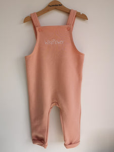 Dusty Pink Fleece Dungarees Plain and Personalised