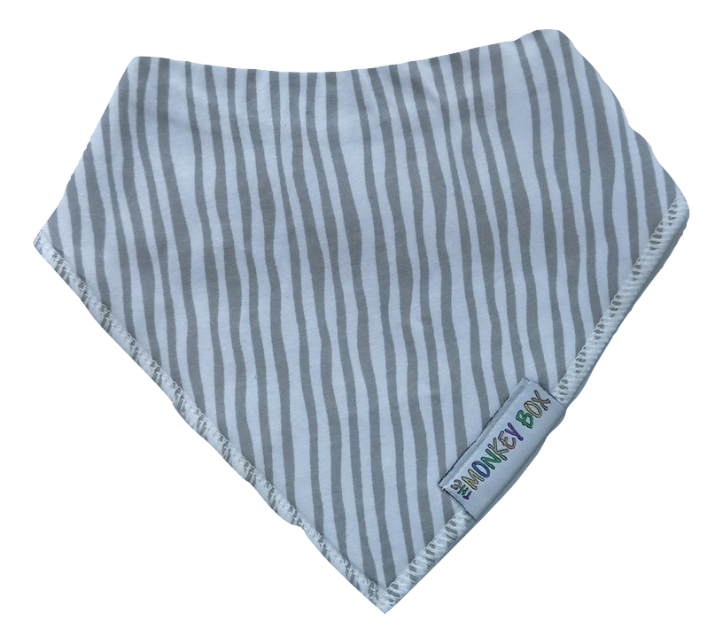Grey zebra stripe dribble Bib - The Monkey Box