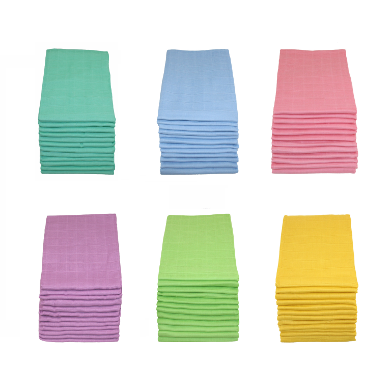 MuslinZ Individual Plain Coloured Muslin Squares (7 Colours) - The Monkey Box