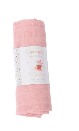 Moulin Roty Pink Muslin Cloth 70x70cm - The Monkey Box