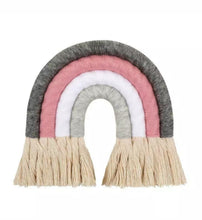Load image into Gallery viewer, Grey and Pink 4 Arch Macrame Rainbow - The Monkey Box