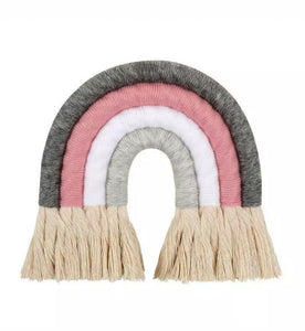 Grey and Pink 4 Arch Macrame Rainbow - The Monkey Box