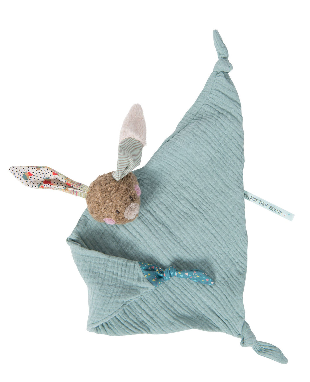 Moulin Roty Rabbit muslin comforter Jolis Trop Beaux - The Monkey Box