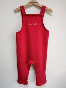 Grey Fleece Dungarees Plain and Personalised