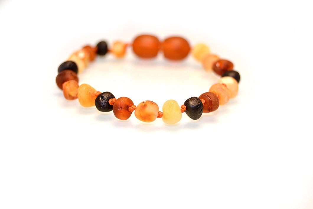 Multi coloured amber beads, amber bracelet, amber anklet 12cm & 14cm