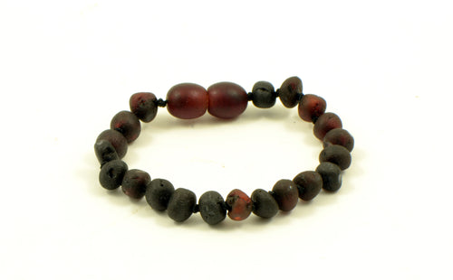 Dark Cherry Raw Baroque Bead Amber Bracelet/Anklet 12 & 14cm