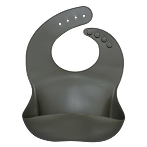 Charcoal Grey Silicone Bib - The Monkey Box