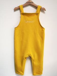 Yellow Fleece Dungarees Plain and Personalised