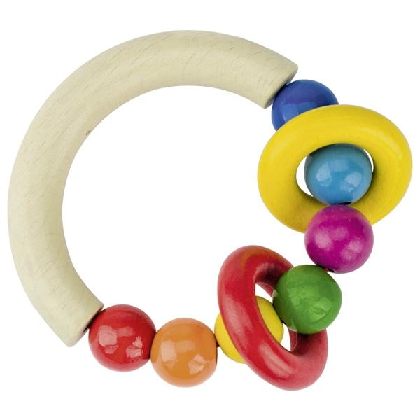 Heimess Wooden Rattle half-round with beads & 2 rings - The Monkey Box