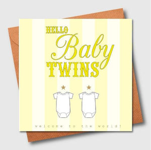 Hello Baby Twins Greeting Card - The Monkey Box