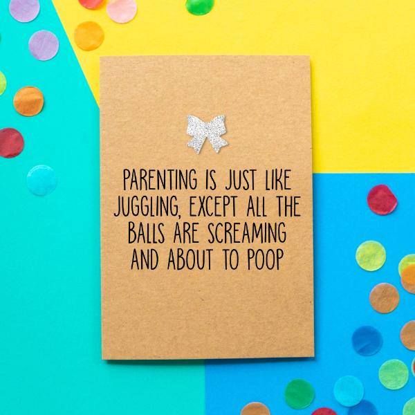 Parent Juggling Greeting Card - The Monkey Box
