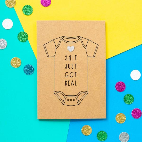 Shit Got Real Greeting Card - The Monkey Box