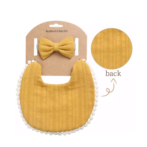 Mustard Boho Bib and Headband set