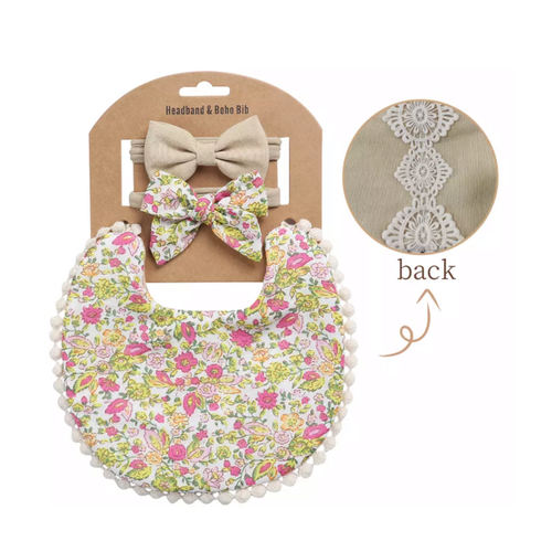 Eliza Floral Boho Bib and Double Headband set