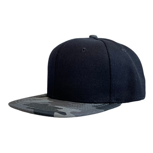 Charcoal Camo/Black Junior Snapback - Plain and Personalised