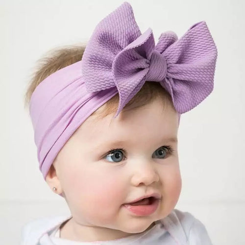 Large Bow Polycotton Stretch Headbands (8 Colours)