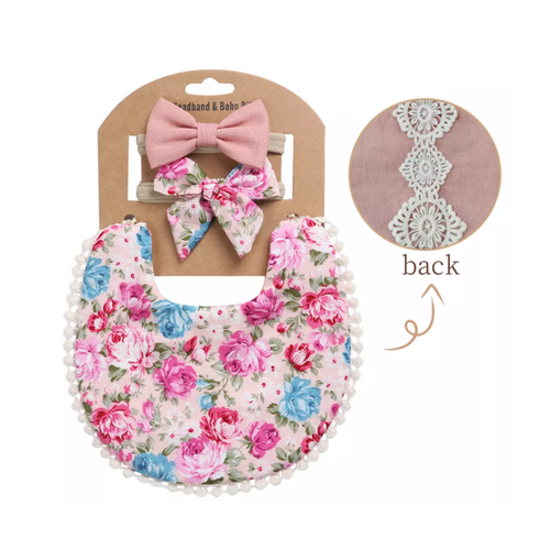Summer Floral Boho Bib and Double Headband set