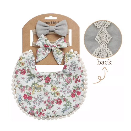 Bluebell Floral Boho Bib and Double Headband set