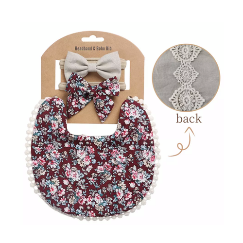 Martha Floral Boho Bib and Double Headband set