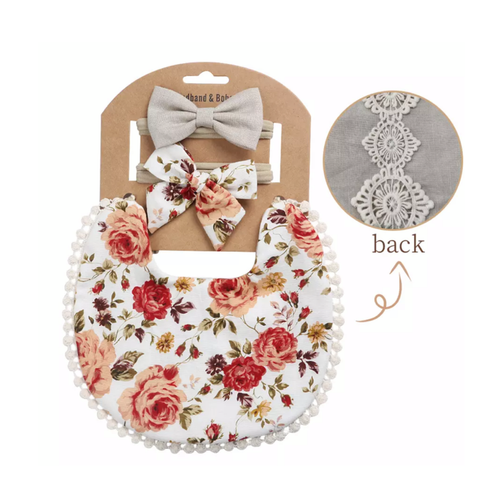 Elsie Floral Boho Bib and Double Headband set