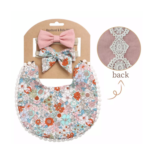 Sienna Floral Boho Bib and Double Headband set