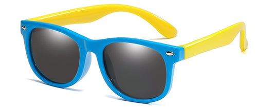 kids sunglasses blue yellow side