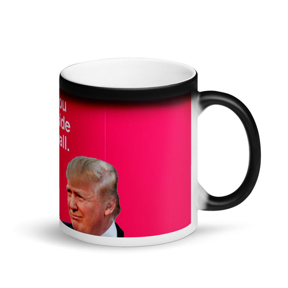 Trump I Want You On My Side of the Wall Surprise Meme Black Magic Mug