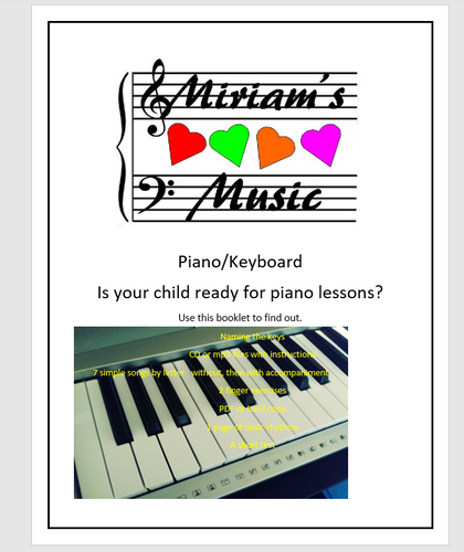 Booklet and CD for Parents of Prospective Piano Student