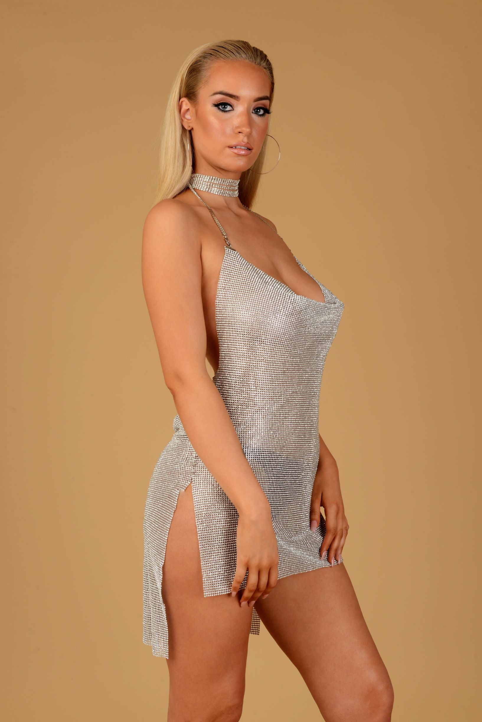 eeebe4fb98dc3 Silver Crystal Mesh Chainmail Dress | Sultress | UK